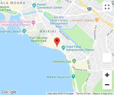 Location of Infinity Spa Waikiki Beach