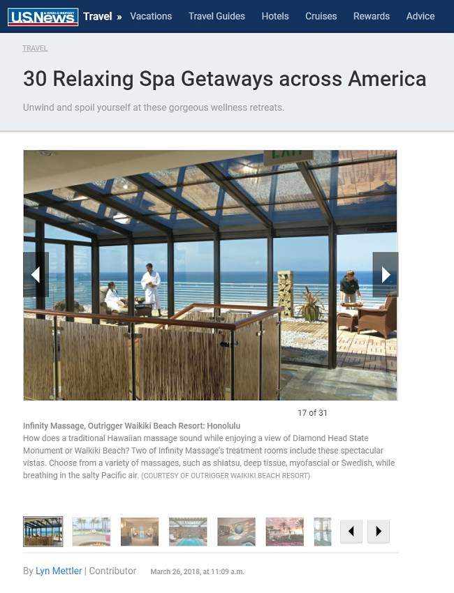 US News Featuring Infinity Spa Waikiki
